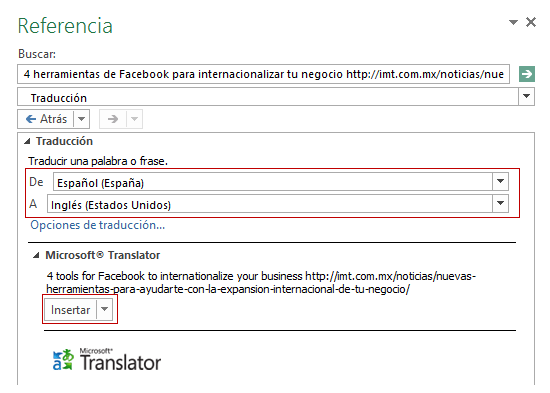 Excel translator