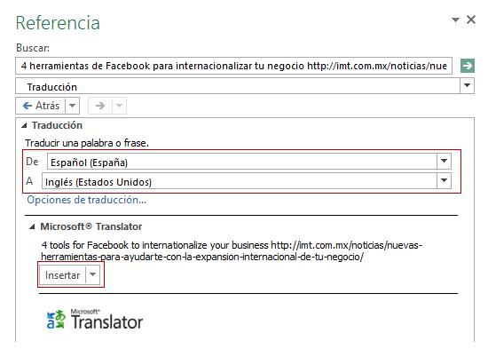 Traducteur Excel