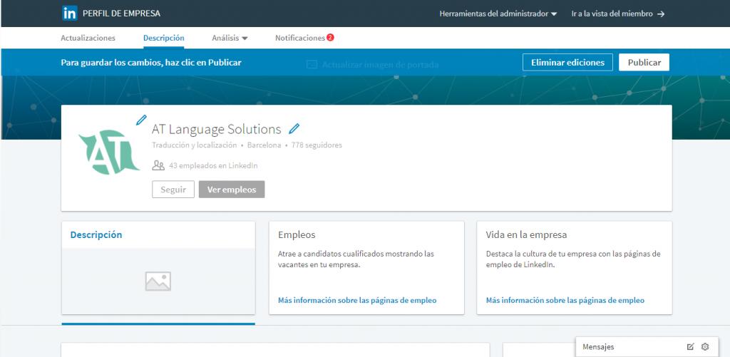 Publicación traducción Linkedin