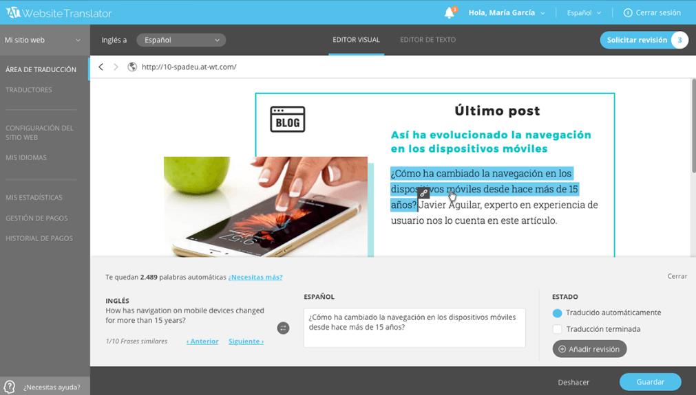 Traducción profesional con AT Website Translator