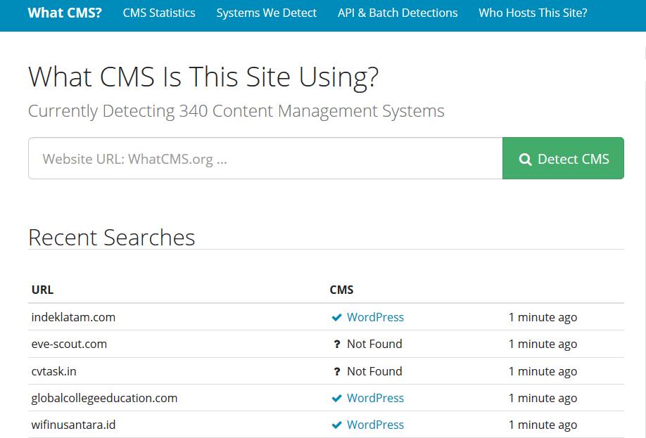como averiguar el cms de una web Whatcms